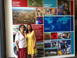 Champa and Rekha tour the exhibits at Fermilab