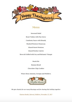 Thanksgiving Menu 2017